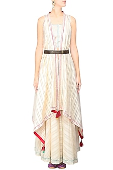 Off White Asymmetric Jacket With Red Tassel Hangings by The Right Cut