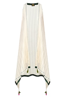 Off White Asymmetric Jacket With Green Tassel Hangings by The Right Cut