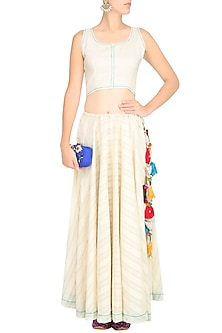 Off White Umbrella Crop Top and Skirt Set by The Right Cut