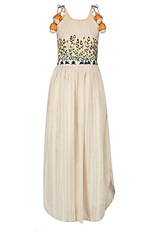 Ivory Floral Embroidered Strappy Knee Length Dress