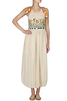 Ivory Floral Embroidered Strappy Knee Length Dress by The Right Cut