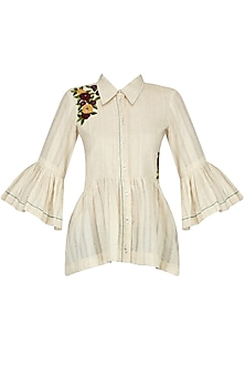 Ivory Floral Embroidered Shirt