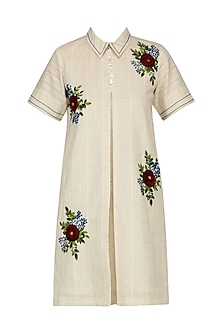 Ivory Floral Embroidered Shirt Dress
