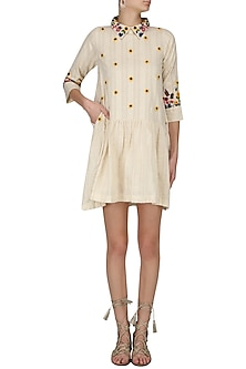 Ivory Floral Embroidered Drop Waist Dress by The Right Cut