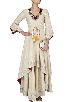 Ivory Floral Embroidered Drawstring Asymmetrical Dress by The Right Cut