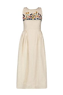Ivory Floral Embroidered Pleated Dress