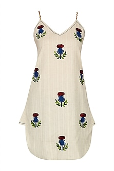 Ivory Floral Embroidered Strappy Top
