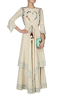Ivory Floral Embroidered Drawstring Long Dress by The Right Cut