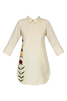 Ivory Floral Embroidered Shirt Kurta