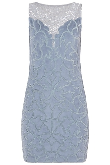 Greyish Blue Embroidered Dress