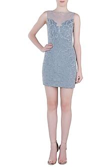 Greyish Blue Embroidered Dress by Trish by Trisha Datwani