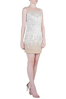 White Embroidered Net Dress by Trish by Trisha Datwani