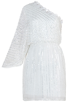White and Silver Embroidered Dress by Trish by Trisha Datwani