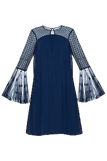 Dark Blue Pleated Embroidered Dress
