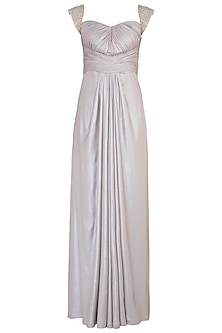 Silver Shimmer Embroidered Gown