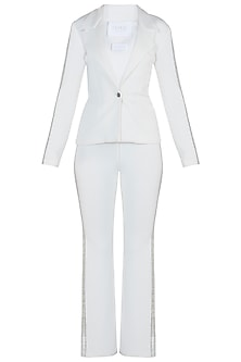 White Embroidered Suit with Pants