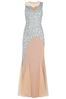 Nude Fish Cut Embroidered Gown