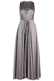 Brownish Grey Embroidered Gown
