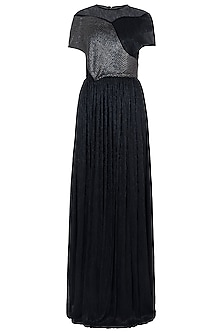Black Embroidered Pleated Gown