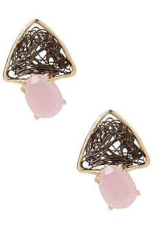 Gold Plated Antique Semi Precious and Pearl Studded Earrings by Tarusa