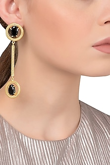 Gold Plated Black Semi Precious Stone Studded Earrings