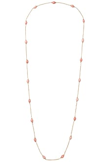 Gold Plated Long Pink Coral Neck Chain by Tarusa