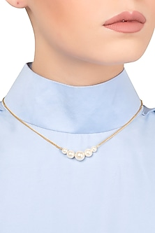 Gold Plated White Pearl String Necklace