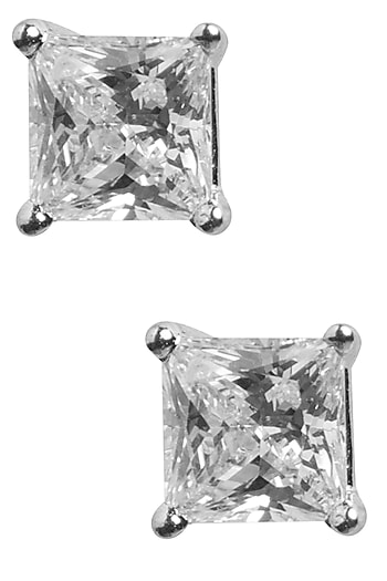 Silver Plated Squar Shaped Studded Earrings by Tarusa