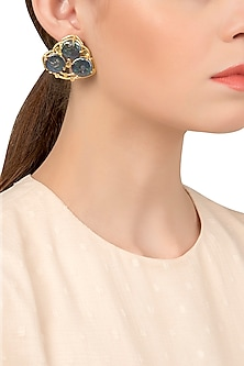 Gold Plated Black Stone Studded Earrings by Tarusa