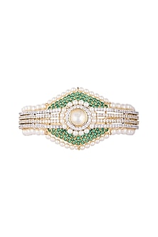 White & Gold Finish Cubic Zirconia, Green CZ & Pearl Bracelet by Tsara