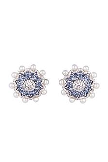 White & Gold Finish Cubic Zirconia, Blue CZ & Pearl Stud Earrings by Tsara