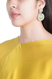 White & Gold Finish Cubic Zirconia, Green CZ & Pearl Long Earrings by Tsara