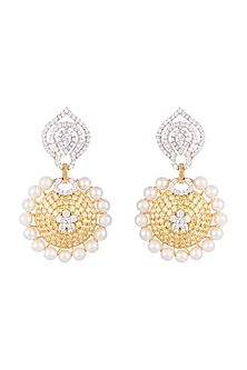 White & Gold Finish Cubic Zirconia, Yellow CZ & Pearl Long Earrings by Tsara