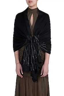 Black Bead & Feather Scarf by The Scarf Story