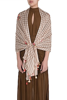Beige & White Checkered Floral Scarf by The Scarf Story