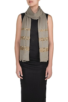 Grey Sequins Checkered Scarf by The Scarf Story