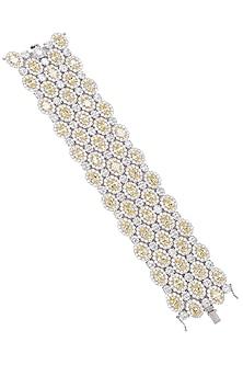 Rhodium Finish Zircons Multilayer Bracelet by Tsara
