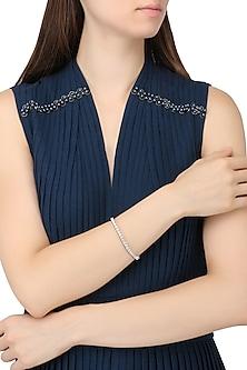 Rhodium Finish Cubic Zircons Bracelet by Tsara