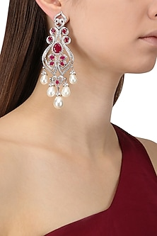 Rhodium Finish Zircons, Ruby and Pearl Earrings