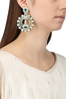 Rhodium and Gold Dual Finish Zircons and Emerald Stone Earrings