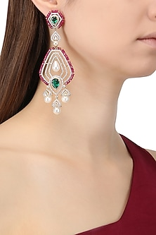 Rhodium Plated Zircons, Emerald and Ruby Earrings
