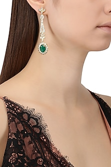 Gold Plated Zircons and Emerald Stone Earrings by Tsara