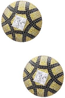 Rhodium and Gold Dual Finish Zircons Earrings by Tsara