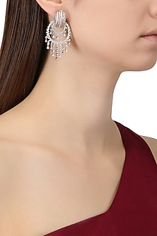 Rhodium and Rose Gold Dual Finish Zircons Earrings