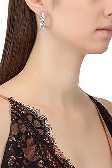 Rhodium Plated Cubic Zircons Hoop Earrings by Tsara