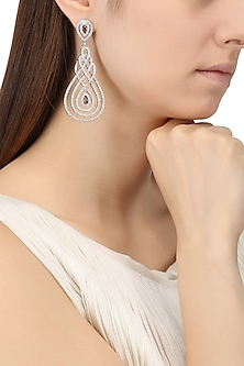 Rhodium Finish Cubic Zircons Chandelier Earrings