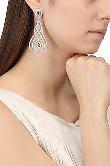 Rhodium Finish Cubic Zircons Chandelier Earrings by Tsara