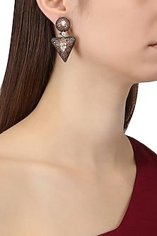 Rhodium Finish Cubic Zircons Triangular Shaped Earrings