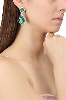 Rhodium Finish Zircons and Emerald Drop Earrings by Tsara