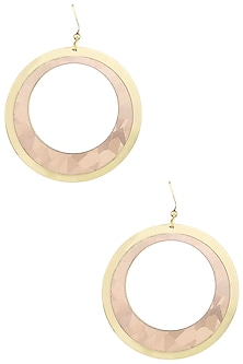 Yellow Gold Plated and Angular Leather Textured Earrings by Tsara